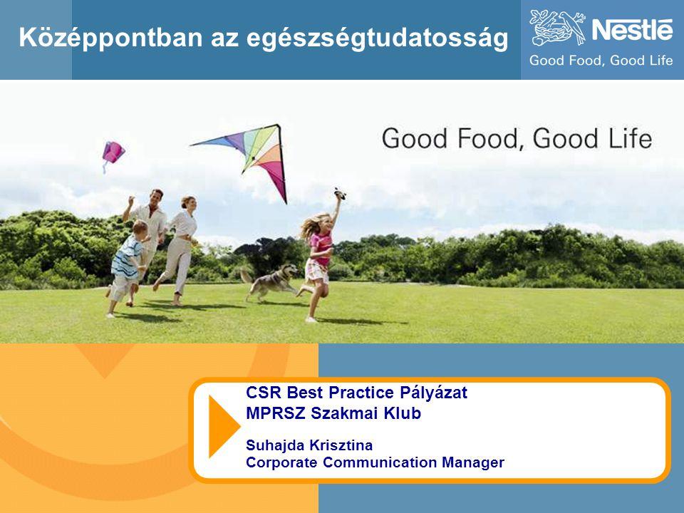 1 Középpontban az egészségtudatosság CSR Best Practice Pályázat MPRSZ Szakmai Klub Suhajda Krisztina Corporate Communication Manager