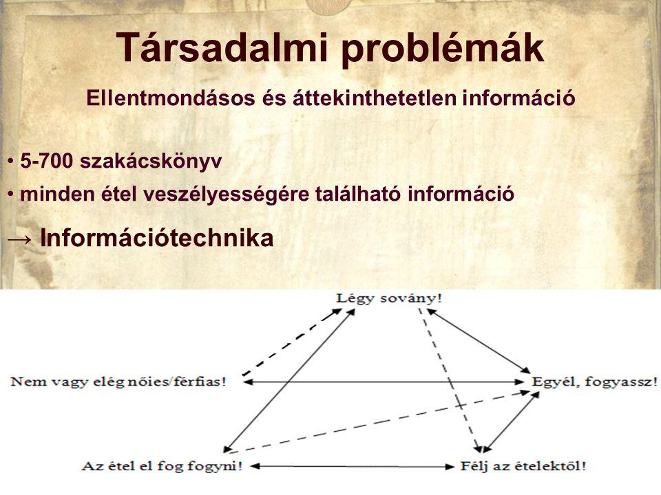 Társadalmi problémák Ellentmondásos és áttekinthetetlen információ • 5-700 szakácskönyv • minden étel veszélyességére található információ → Információtechnika