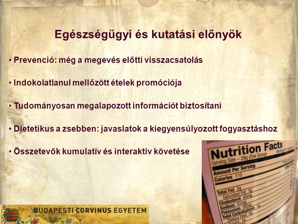 Egészségügyi és kutatási előnyök • Prevenció: még a megevés előtti visszacsatolás • Indokolatlanul mellőzött ételek promóciója • Tudományosan megalapozott információt biztosítani • Dietetikus a zsebben: javaslatok a kiegyensúlyozott fogyasztáshoz • Összetevők kumulatív és interaktív követése