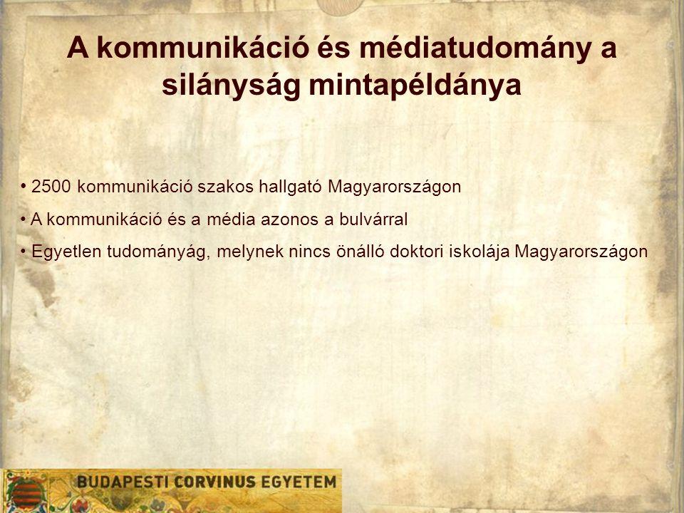 A kommunikáció és médiatudomány a silányság mintapéldánya • 2500 kommunikáció szakos hallgató Magyarországon • A kommunikáció és a média azonos a bulvárral • Egyetlen tudományág, melynek nincs önálló doktori iskolája Magyarországon