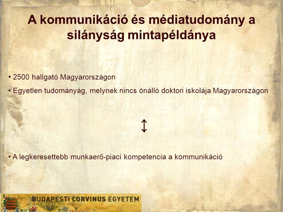 A kommunikáció és médiatudomány a silányság mintapéldánya • 2500 hallgató Magyarországon • Egyetlen tudományág, melynek nincs önálló doktori iskolája Magyarországon ↕ • A legkeresettebb munkaerő-piaci kompetencia a kommunikáció