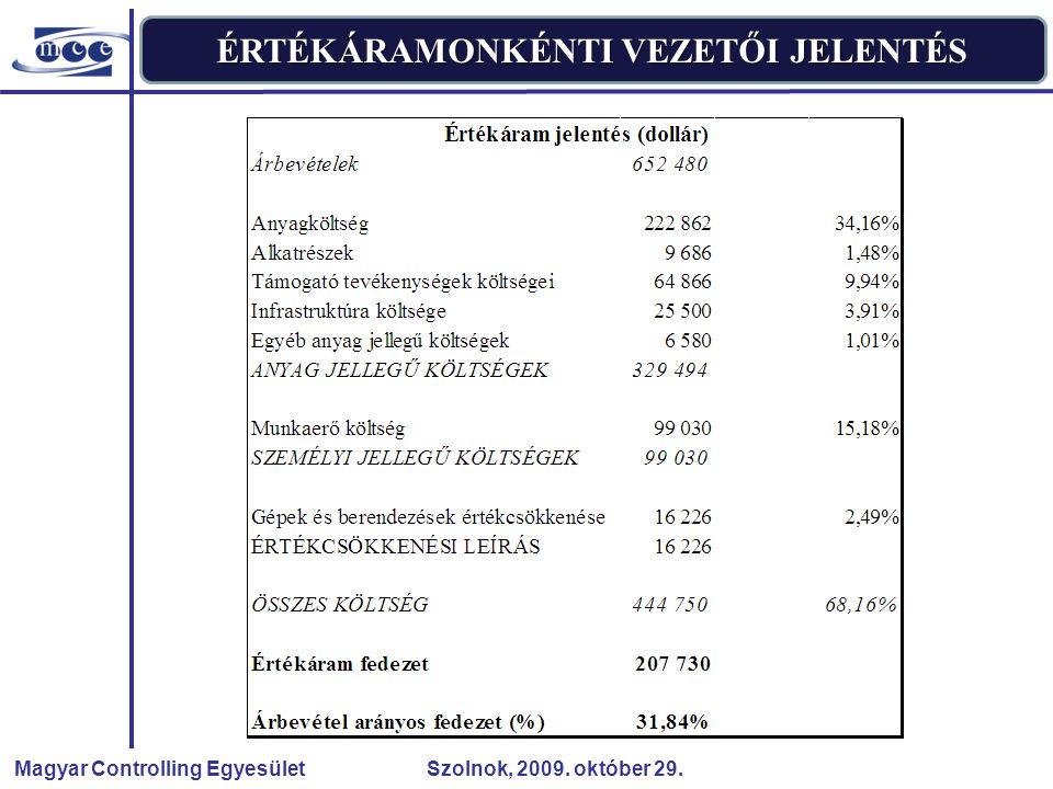 Magyar Controlling Egyesület Szolnok, 2009. október 29. ÉRTÉKÁRAMONKÉNTI VEZETŐI JELENTÉS