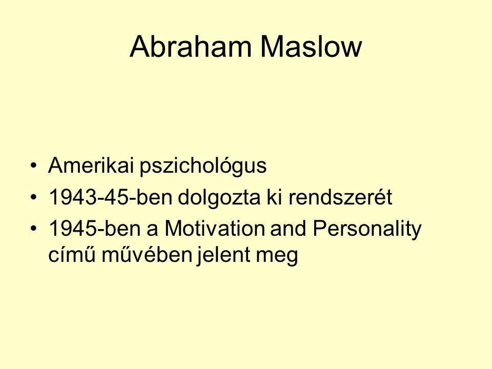 Abraham Maslow •Amerikai pszichológus •1943-45-ben dolgozta ki rendszerét •1945-ben a Motivation and Personality című művében jelent meg