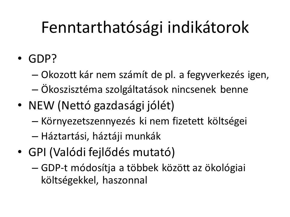 Fenntarthatósági indikátorok • GDP? – Okozott kár nem számít de pl. a fegyverkezés igen, – Ökoszisztéma szolgáltatások nincsenek benne • NEW (Nettó ga