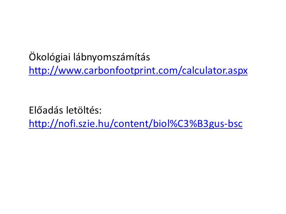 Ökológiai lábnyomszámítás http://www.carbonfootprint.com/calculator.aspx Előadás letöltés: http://nofi.szie.hu/content/biol%C3%B3gus-bsc