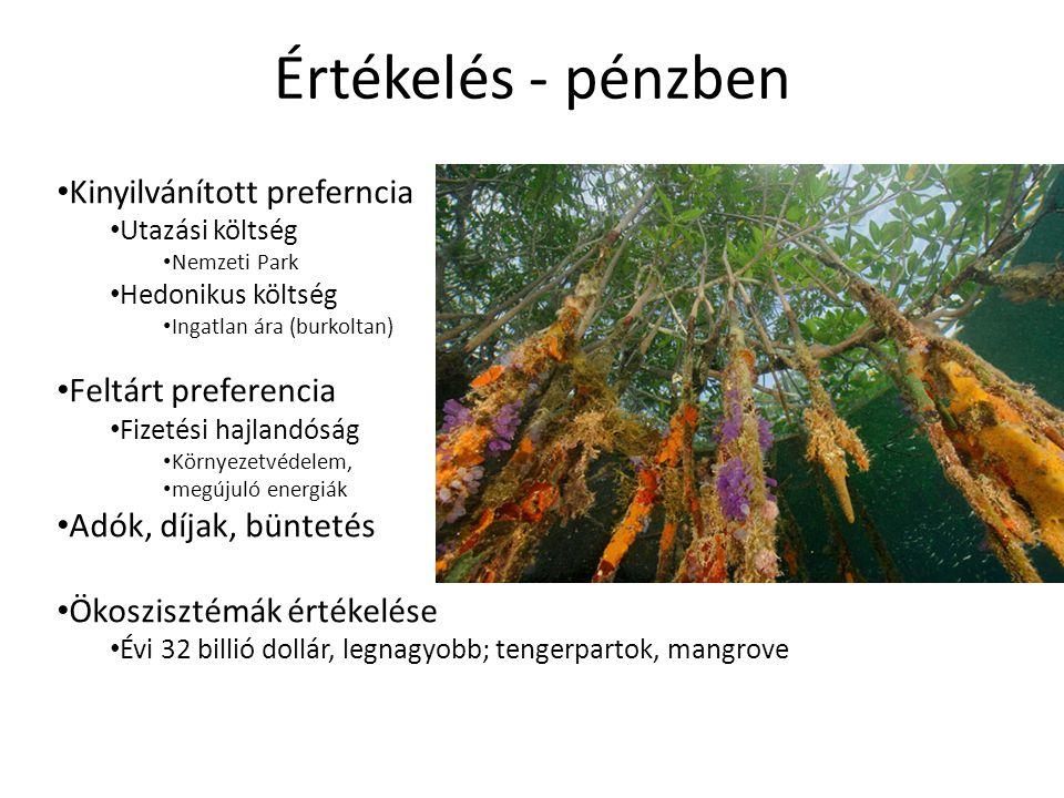 Területfejlesztési stratégiák: • Tervek szerinti • Fejlesztési • Megőrzési Ökoszisztéma szolgáltatások számbevétele ; • vízminőség, • talajvédelem, • földhasználati és a felszínborítási típusok, • talajtípusok • esőzések intenzitása • domborzati viszonyok • szénmegkötés, • Gg CO2/év – 1 Mg 43 dollár • biodiverzitás védelem, Gazdasági értékek: • Áruk értéke.