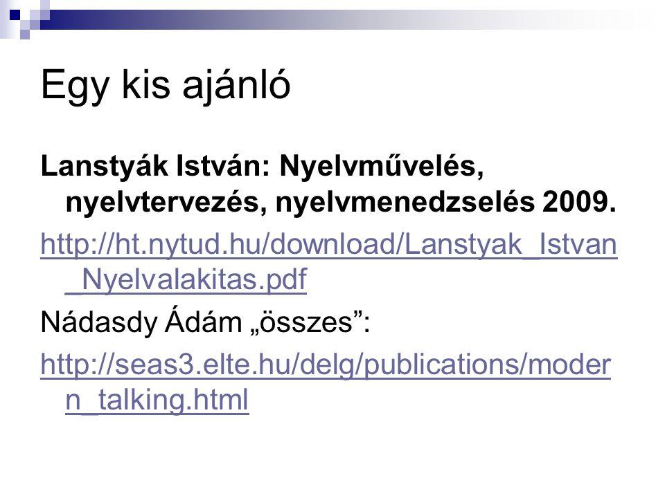 Egy kis ajánló Lanstyák István: Nyelvművelés, nyelvtervezés, nyelvmenedzselés 2009. http://ht.nytud.hu/download/Lanstyak_Istvan _Nyelvalakitas.pdf Nád