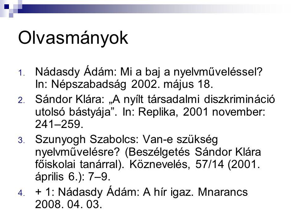 """Olvasmányok 1. Nádasdy Ádám: Mi a baj a nyelvműveléssel? In: Népszabadság 2002. május 18. 2. Sándor Klára: """"A nyílt társadalmi diszkrimináció utolsó b"""