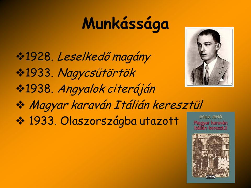 Munkássága  1928. Leselkedő magány  1933. Nagycsütörtök  1938. Angyalok citeráján  Magyar karaván Itálián keresztül  1933. Olaszországba utazott