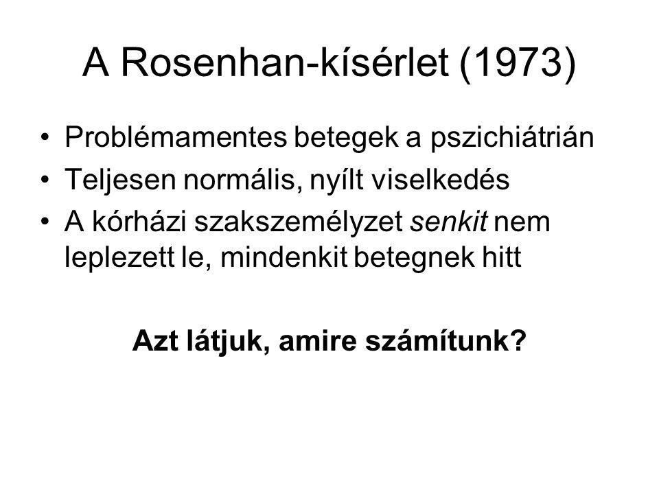 A Rosenhan-kísérlet (1973) •Problémamentes betegek a pszichiátrián •Teljesen normális, nyílt viselkedés •A kórházi szakszemélyzet senkit nem leplezett