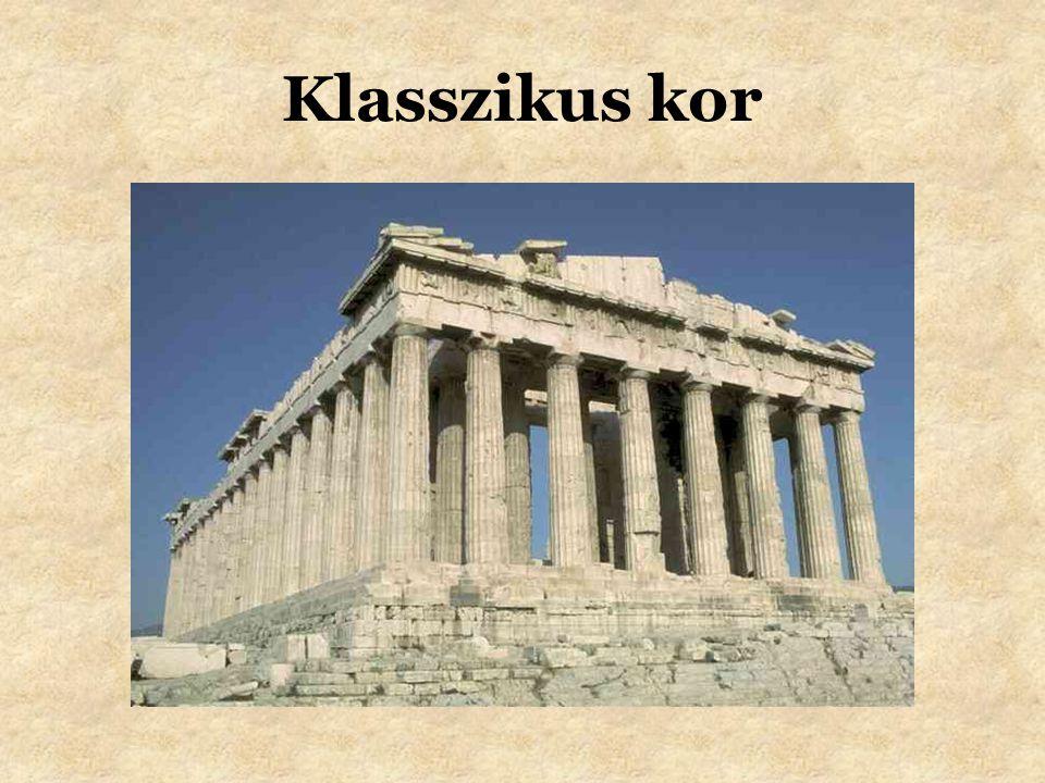 Zene •Platón hitt az ethosz szerepében –a zene képes hatni az emberek éltére •A zene formálja a lelket •Zenei skála (Püthagorász) •A zenének a görög drámában is szerepe volt –hozzájárult az opera kialakulásához •Zeneszerszámok: líra, cimbalom, tamburin, furulya