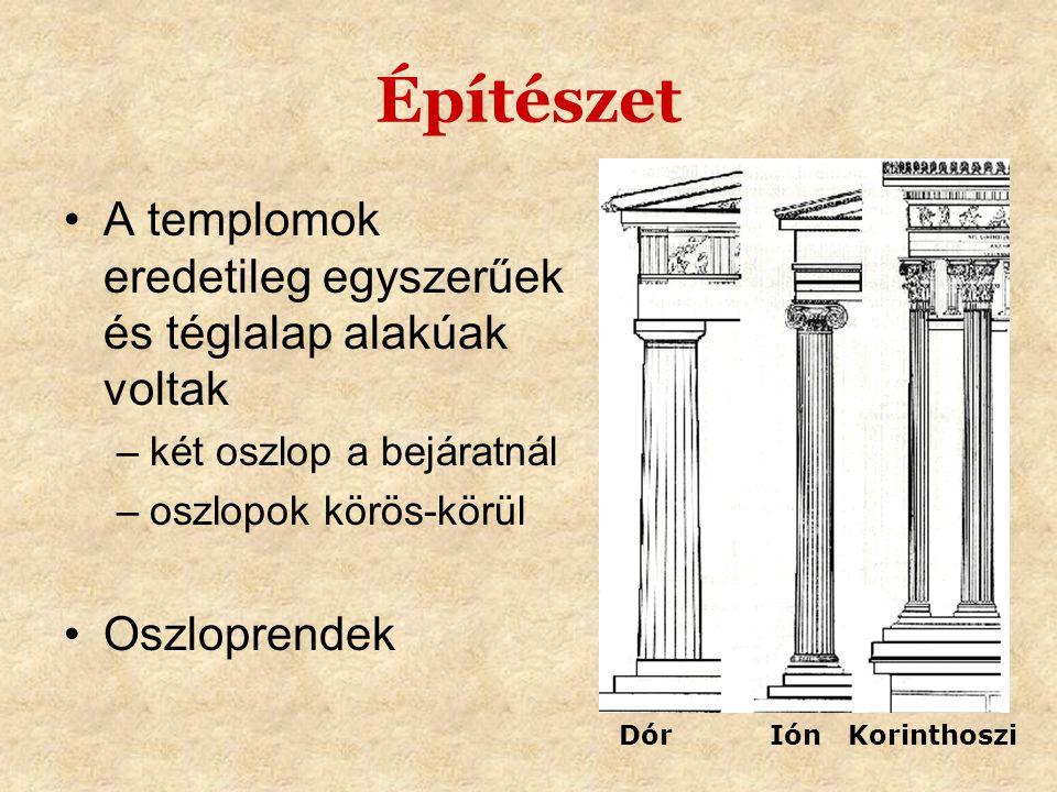 Építészet •A templomok eredetileg egyszerűek és téglalap alakúak voltak –két oszlop a bejáratnál –oszlopok körös-körül •Oszloprendek Dór Ión Korinthos
