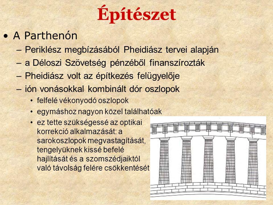 Építészet •A Parthenón –Periklész megbízásából Pheidiász tervei alapján –a Déloszi Szövetség pénzéből finanszírozták –Pheidiász volt az építkezés felü