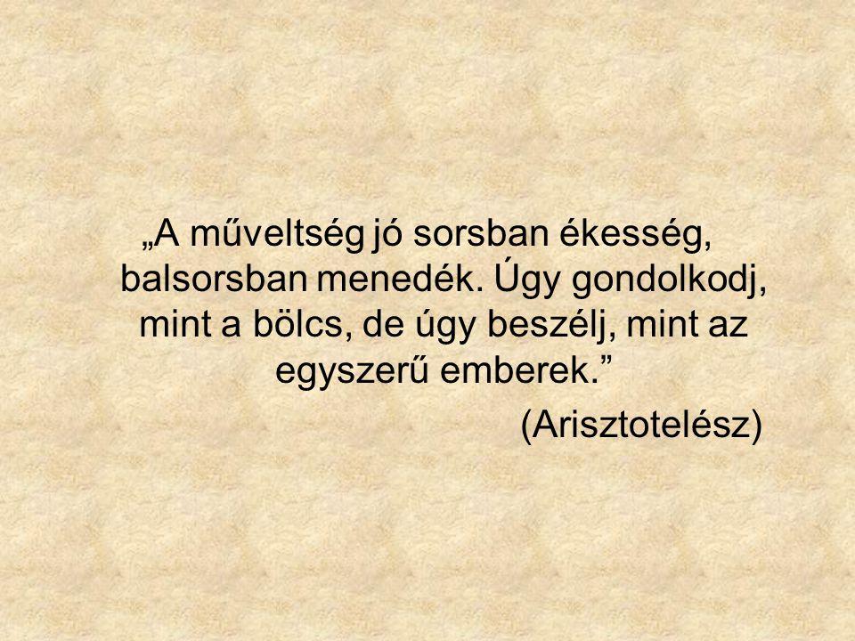 """""""A műveltség jó sorsban ékesség, balsorsban menedék. Úgy gondolkodj, mint a bölcs, de úgy beszélj, mint az egyszerű emberek."""" (Arisztotelész)"""