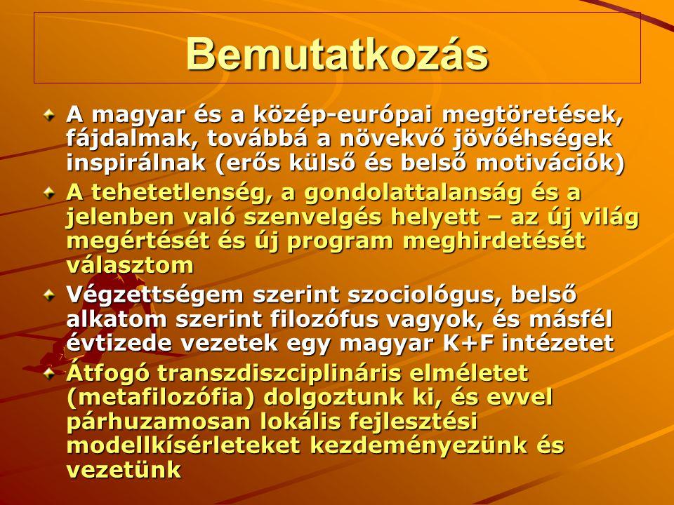 Bemutatkozás A magyar és a közép-európai megtöretések, fájdalmak, továbbá a növekvő jövőéhségek inspirálnak (erős külső és belső motivációk) A tehetetlenség, a gondolattalanság és a jelenben való szenvelgés helyett – az új világ megértését és új program meghirdetését választom Végzettségem szerint szociológus, belső alkatom szerint filozófus vagyok, és másfél évtizede vezetek egy magyar K+F intézetet Átfogó transzdiszciplináris elméletet (metafilozófia) dolgoztunk ki, és evvel párhuzamosan lokális fejlesztési modellkísérleteket kezdeményezünk és vezetünk