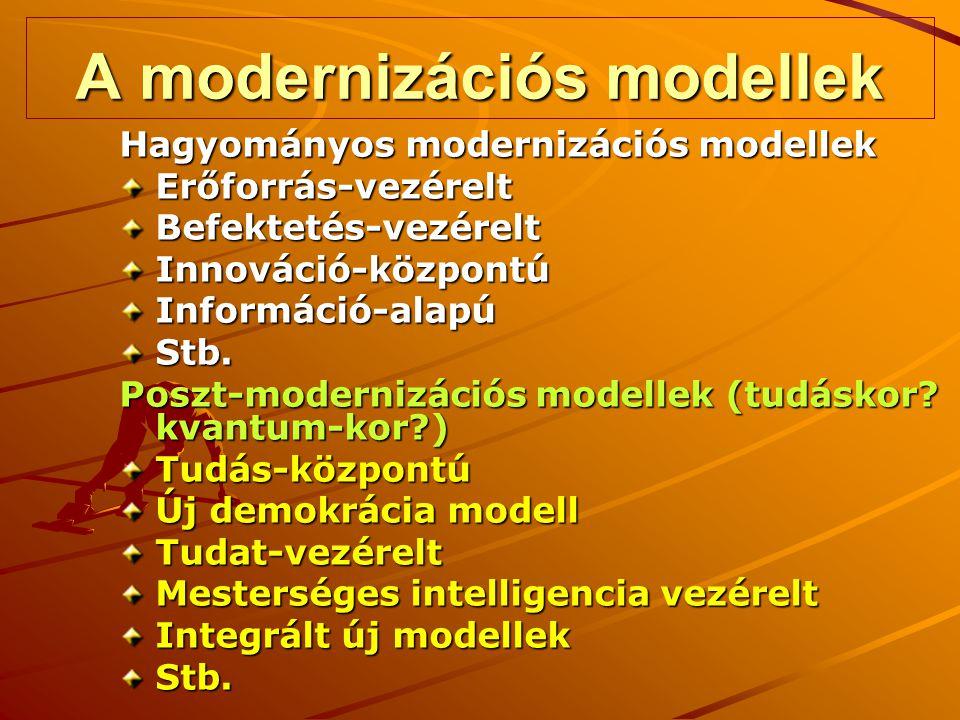 A modernizációs modellek Hagyományos modernizációs modellek Erőforrás-vezéreltBefektetés-vezéreltInnováció-központúInformáció-alapúStb. Poszt-moderniz