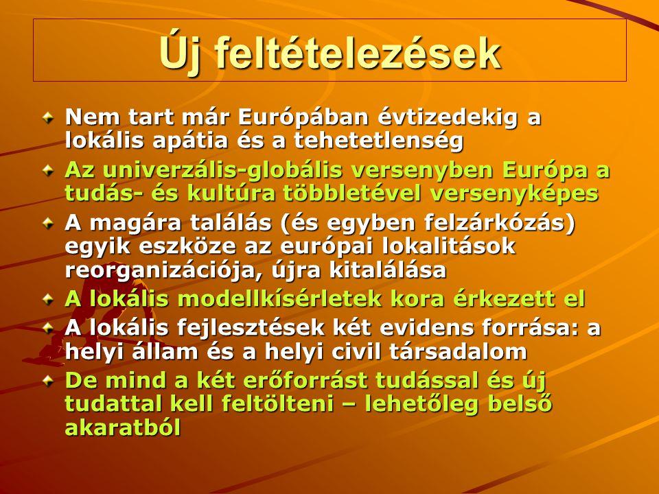 Új feltételezések Nem tart már Európában évtizedekig a lokális apátia és a tehetetlenség Az univerzális-globális versenyben Európa a tudás- és kultúra többletével versenyképes A magára találás (és egyben felzárkózás) egyik eszköze az európai lokalitások reorganizációja, újra kitalálása A lokális modellkísérletek kora érkezett el A lokális fejlesztések két evidens forrása: a helyi állam és a helyi civil társadalom De mind a két erőforrást tudással és új tudattal kell feltölteni – lehetőleg belső akaratból