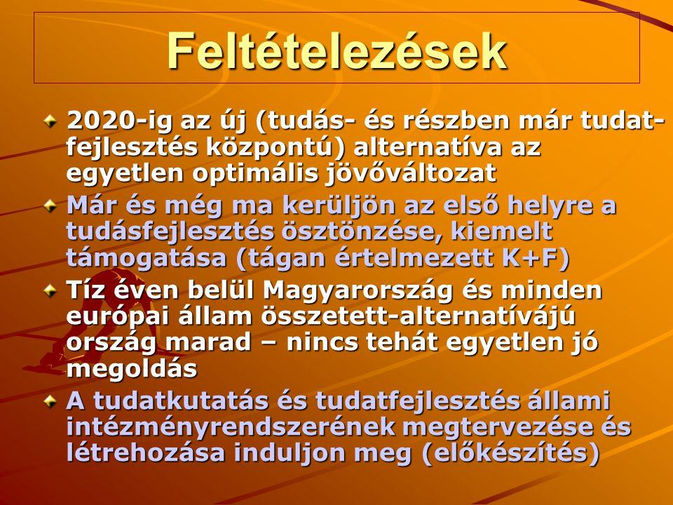 Feltételezések 2020-ig az új (tudás- és részben már tudat- fejlesztés központú) alternatíva az egyetlen optimális jövőváltozat Már és még ma kerüljön az első helyre a tudásfejlesztés ösztönzése, kiemelt támogatása (tágan értelmezett K+F) Tíz éven belül Magyarország és minden európai állam összetett-alternatívájú ország marad – nincs tehát egyetlen jó megoldás A tudatkutatás és tudatfejlesztés állami intézményrendszerének megtervezése és létrehozása induljon meg (előkészítés)