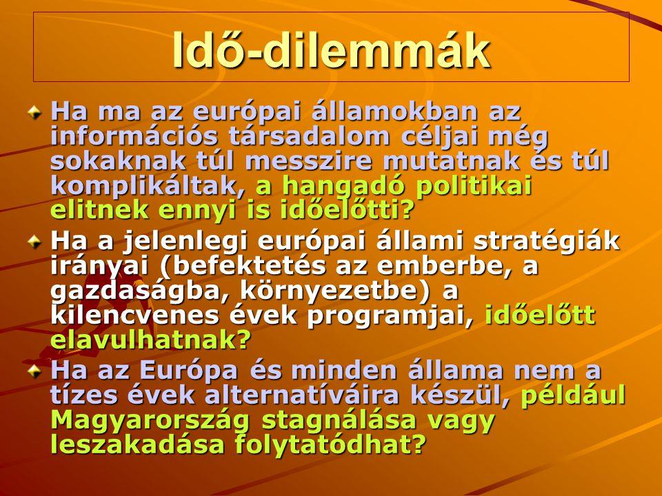 Idő-dilemmák Ha ma az európai államokban az információs társadalom céljai még sokaknak túl messzire mutatnak és túl komplikáltak, a hangadó politikai elitnek ennyi is időelőtti.
