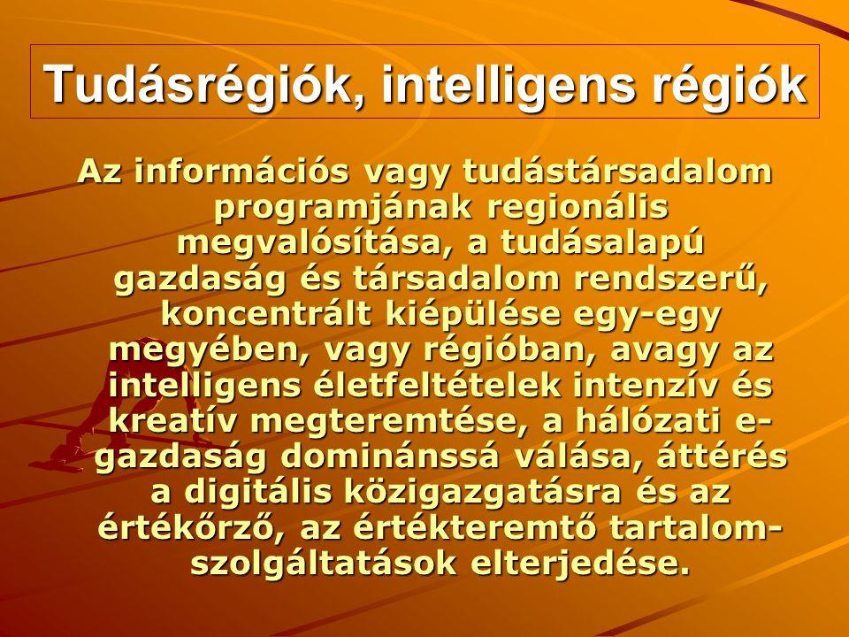 Tudásrégiók, intelligens régiók Az információs vagy tudástársadalom programjának regionális megvalósítása, a tudásalapú gazdaság és társadalom rendszerű, koncentrált kiépülése egy-egy megyében, vagy régióban, avagy az intelligens életfeltételek intenzív és kreatív megteremtése, a hálózati e- gazdaság dominánssá válása, áttérés a digitális közigazgatásra és az értékőrző, az értékteremtő tartalom- szolgáltatások elterjedése.