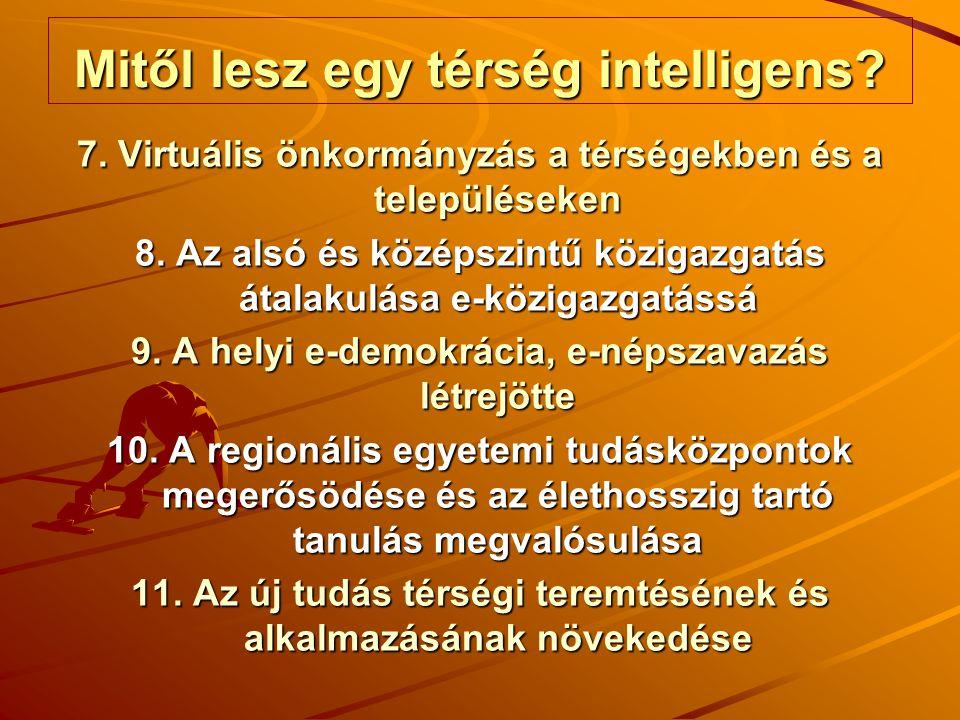 Mitől lesz egy térség intelligens? 7. Virtuális önkormányzás a térségekben és a településeken 8. Az alsó és középszintű közigazgatás átalakulása e-köz