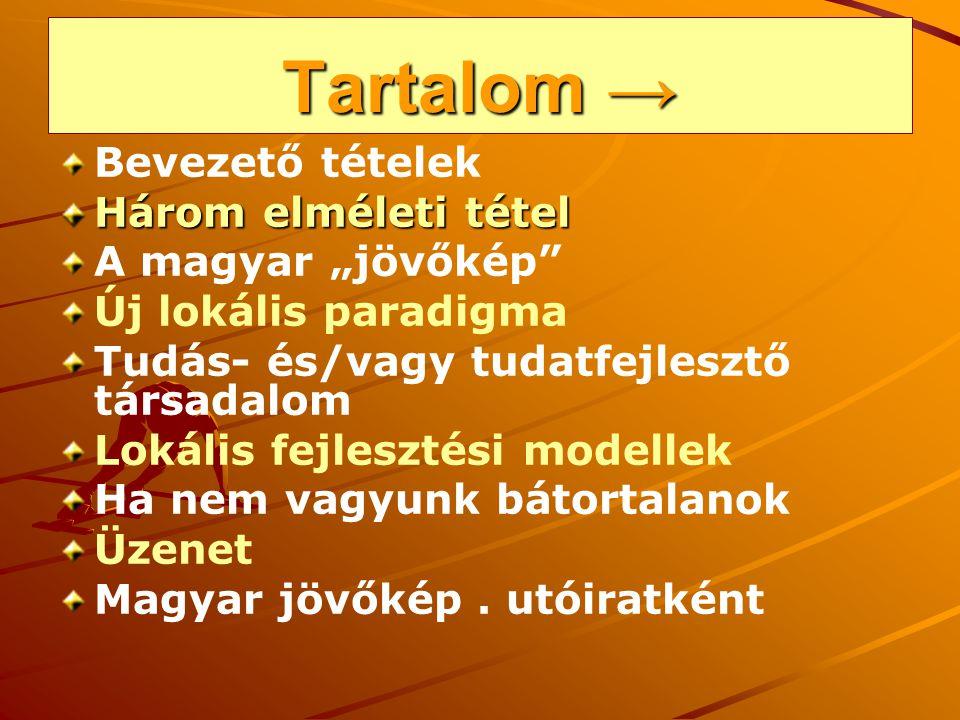 """Tartalom → Bevezető tételek Három elméleti tétel A magyar """"jövőkép"""" Új lokális paradigma Tudás- és/vagy tudatfejlesztő társadalom Lokális fejlesztési"""