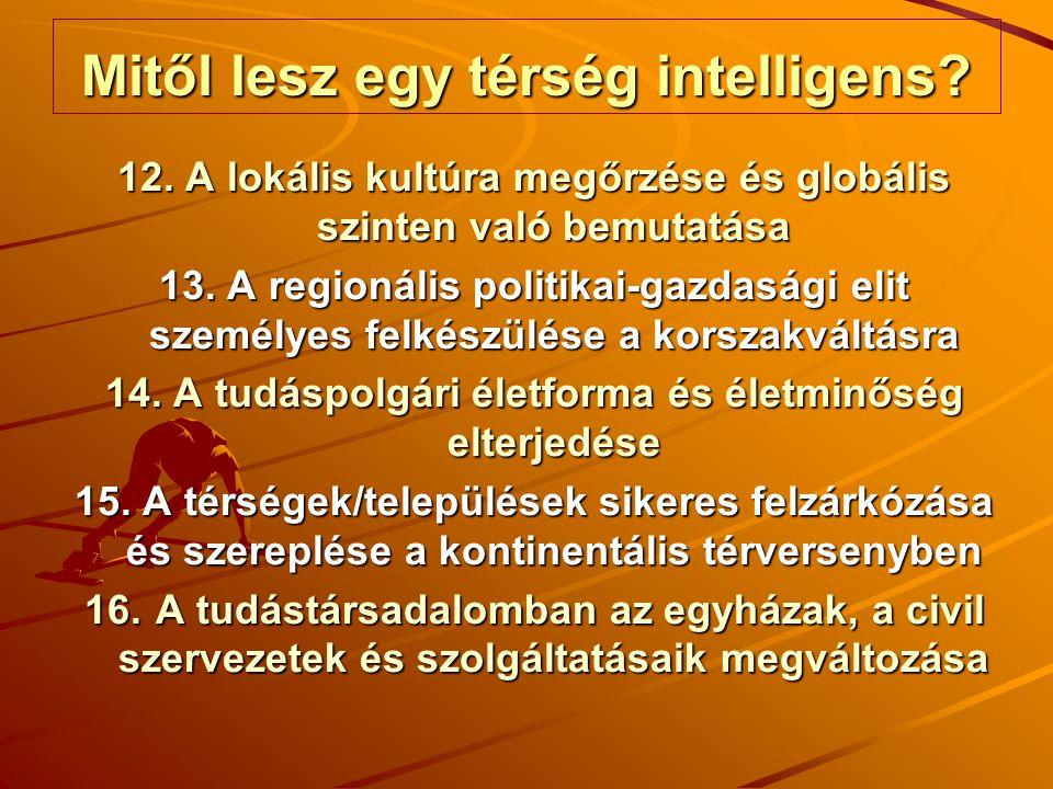 Mitől lesz egy térség intelligens? 12. A lokális kultúra megőrzése és globális szinten való bemutatása 13. A regionális politikai-gazdasági elit szemé