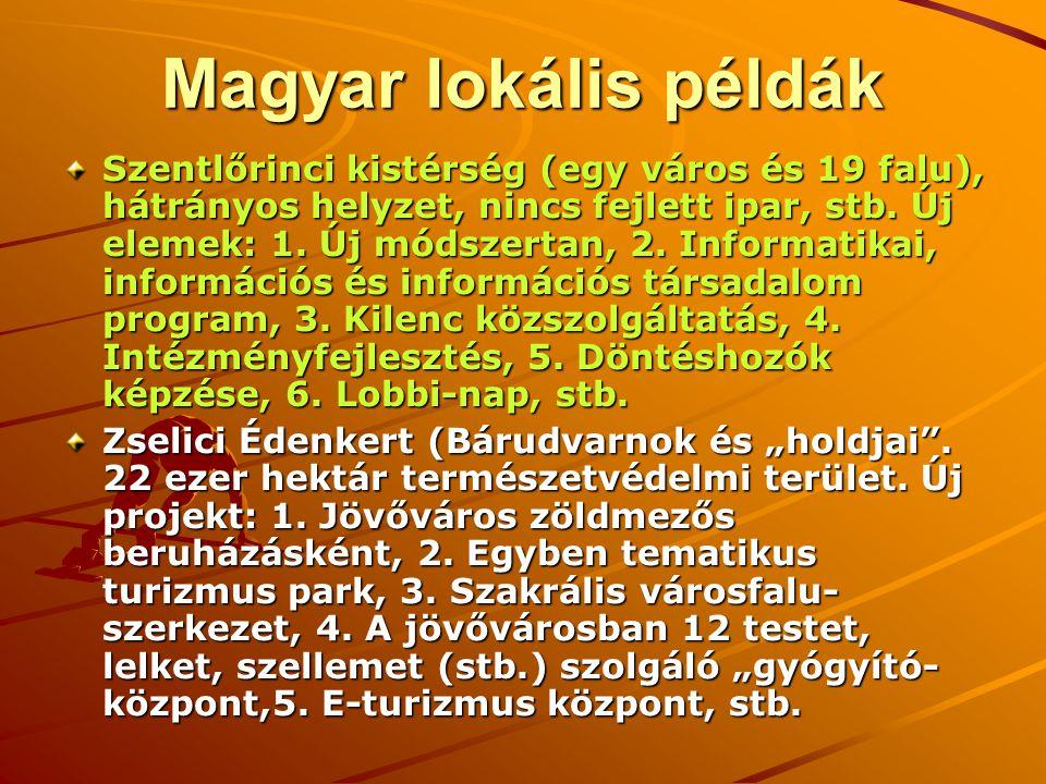 Magyar lokális példák Szentlőrinci kistérség (egy város és 19 falu), hátrányos helyzet, nincs fejlett ipar, stb. Új elemek: 1. Új módszertan, 2. Infor
