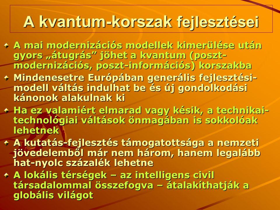 """A kvantum-korszak fejlesztései A mai modernizációs modellek kimerülése után gyors """"átugrás jöhet a kvantum (poszt- modernizációs, poszt-információs) korszakba Mindenesetre Európában generális fejlesztési- modell váltás indulhat be és új gondolkodási kánonok alakulnak ki Ha ez valamiért elmarad vagy késik, a technikai- technológiai váltások önmagában is sokkolóak lehetnek A kutatás-fejlesztés támogatottsága a nemzeti jövedelemből már nem három, hanem legalább hat-nyolc százalék lehetne A lokális térségek – az intelligens civil társadalommal összefogva – átalakíthatják a globális világot"""