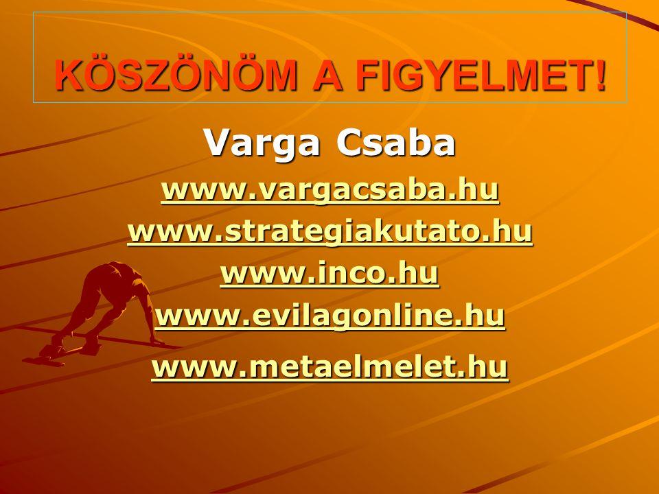 KÖSZÖNÖM A FIGYELMET! Varga Csaba www.vargacsaba.hu www.strategiakutato.hu www.inco.hu www.evilagonline.hu www.metaelmelet.hu