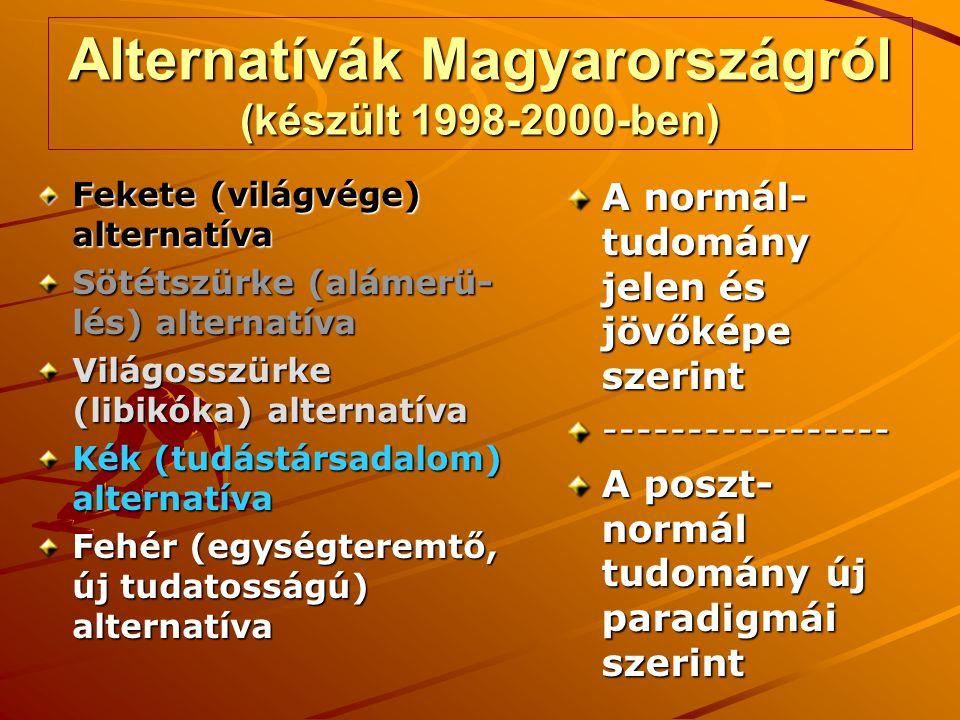 Alternatívák Magyarországról (készült 1998-2000-ben) Fekete (világvége) alternatíva Sötétszürke (alámerü- lés) alternatíva Világosszürke (libikóka) al