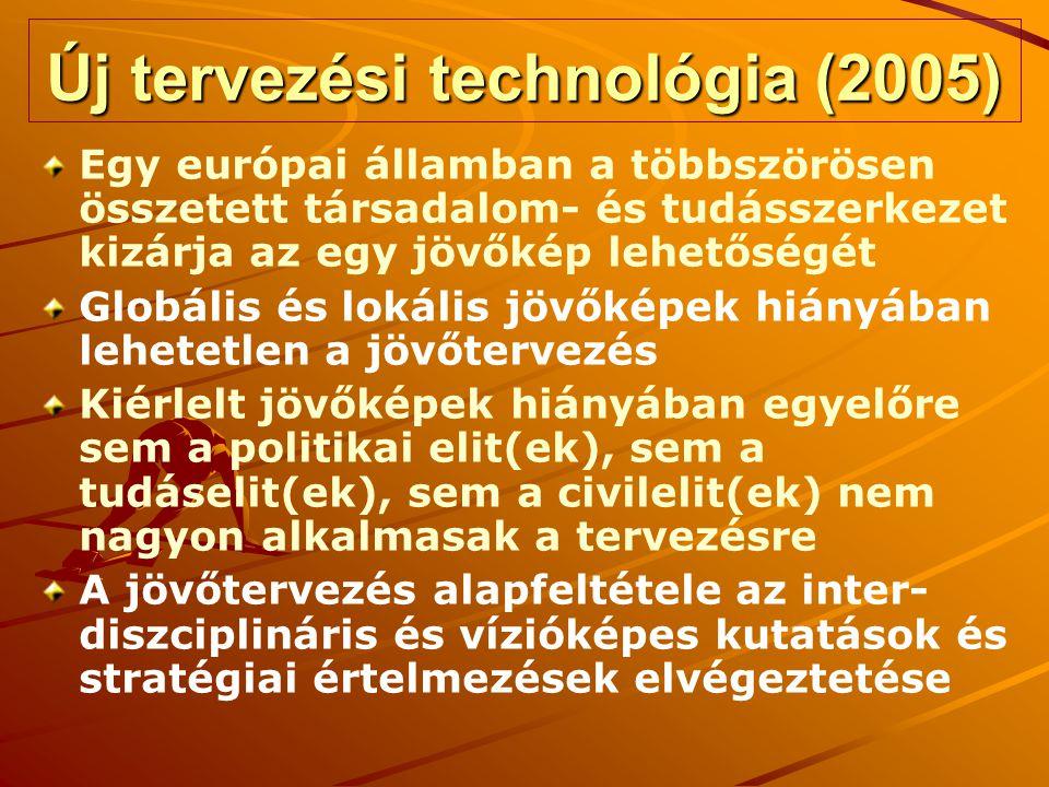Új tervezési technológia (2005) Egy európai államban a többszörösen összetett társadalom- és tudásszerkezet kizárja az egy jövőkép lehetőségét Globális és lokális jövőképek hiányában lehetetlen a jövőtervezés Kiérlelt jövőképek hiányában egyelőre sem a politikai elit(ek), sem a tudáselit(ek), sem a civilelit(ek) nem nagyon alkalmasak a tervezésre A jövőtervezés alapfeltétele az inter- diszciplináris és vízióképes kutatások és stratégiai értelmezések elvégeztetése