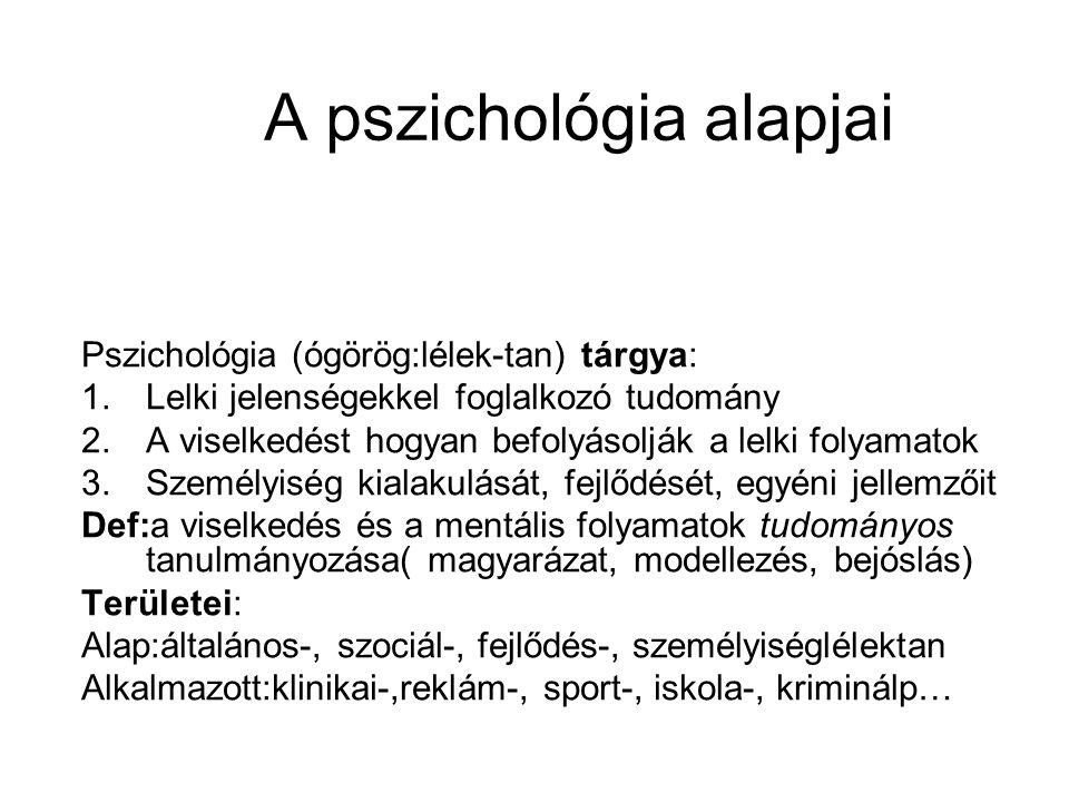 A pszichológia alapjai Pszichológia (ógörög:lélek-tan) tárgya: 1.Lelki jelenségekkel foglalkozó tudomány 2.A viselkedést hogyan befolyásolják a lelki