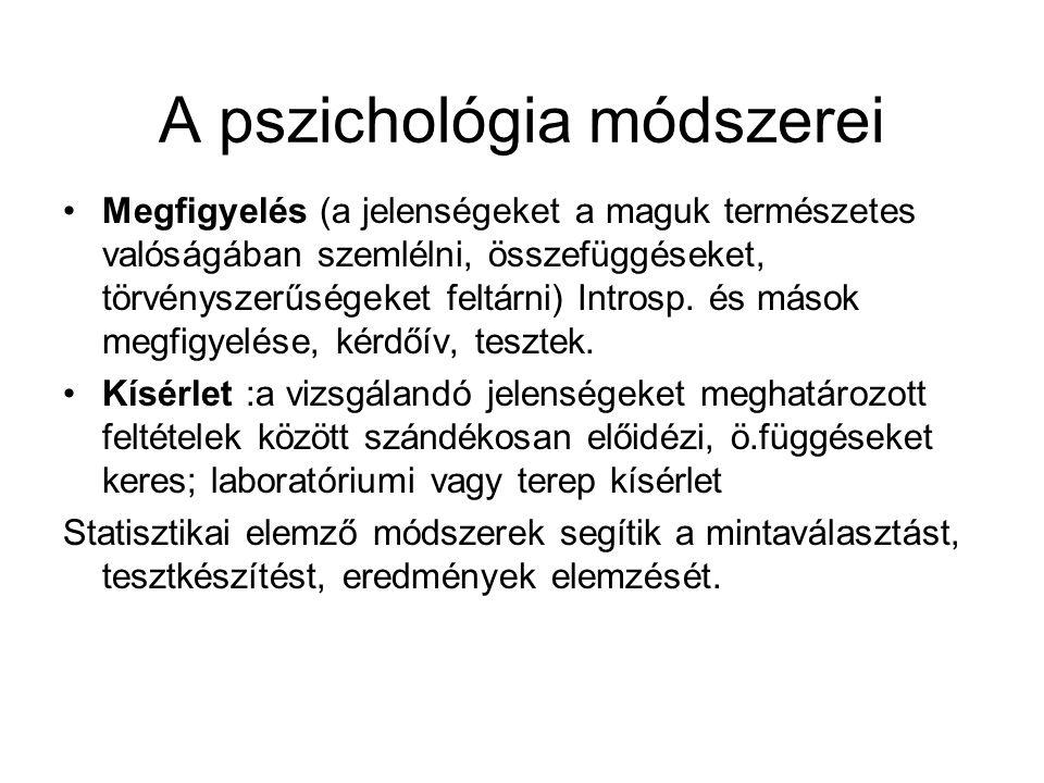 A pszichológia módszerei •Megfigyelés (a jelenségeket a maguk természetes valóságában szemlélni, összefüggéseket, törvényszerűségeket feltárni) Intros