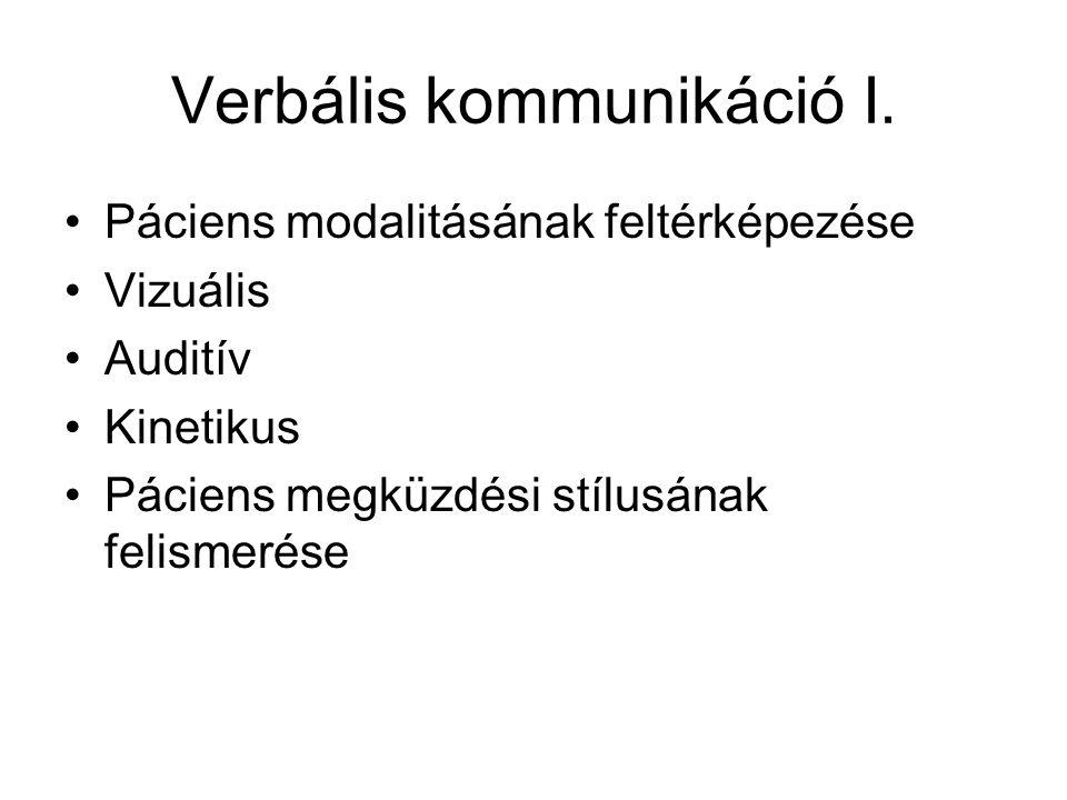 Verbális kommunikáció I. •Páciens modalitásának feltérképezése •Vizuális •Auditív •Kinetikus •Páciens megküzdési stílusának felismerése