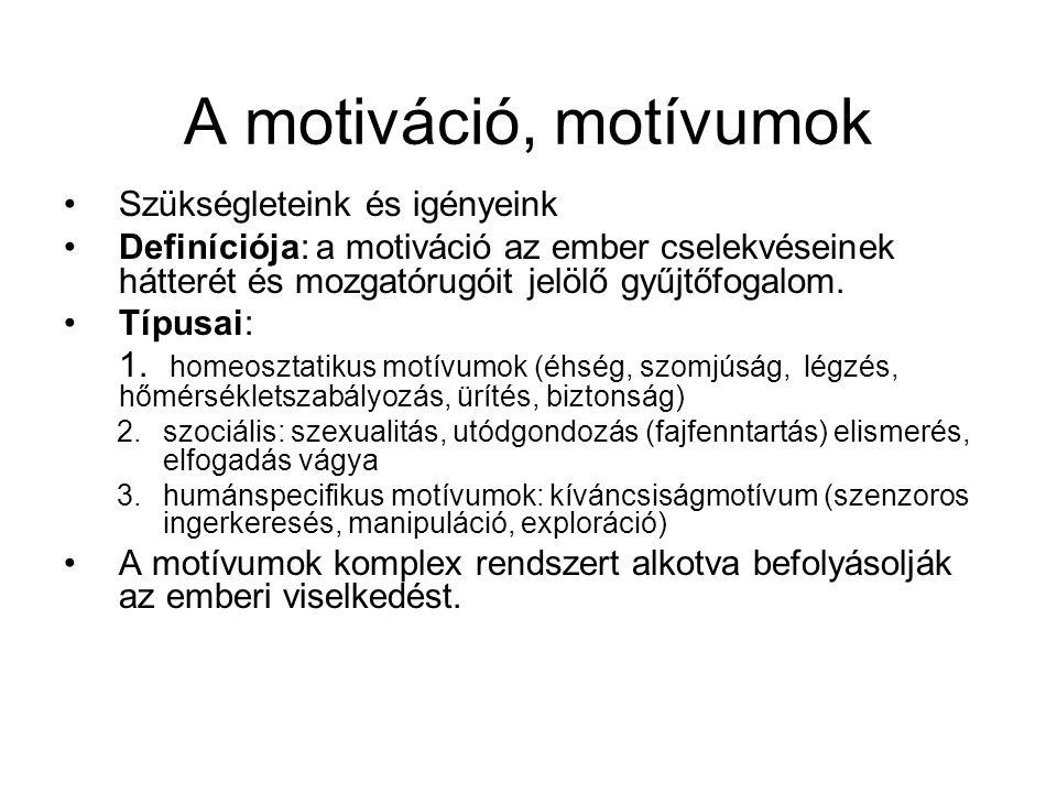 A motiváció, motívumok •Szükségleteink és igényeink •Definíciója: a motiváció az ember cselekvéseinek hátterét és mozgatórugóit jelölő gyűjtőfogalom.