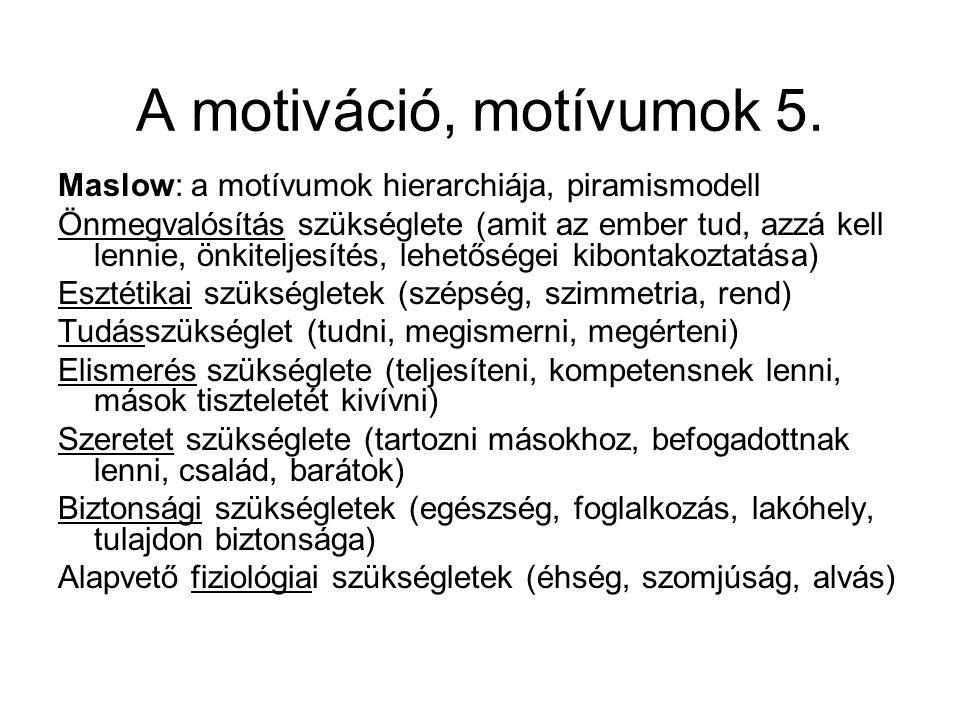A motiváció, motívumok 5. Maslow: a motívumok hierarchiája, piramismodell Önmegvalósítás szükséglete (amit az ember tud, azzá kell lennie, önkiteljesí