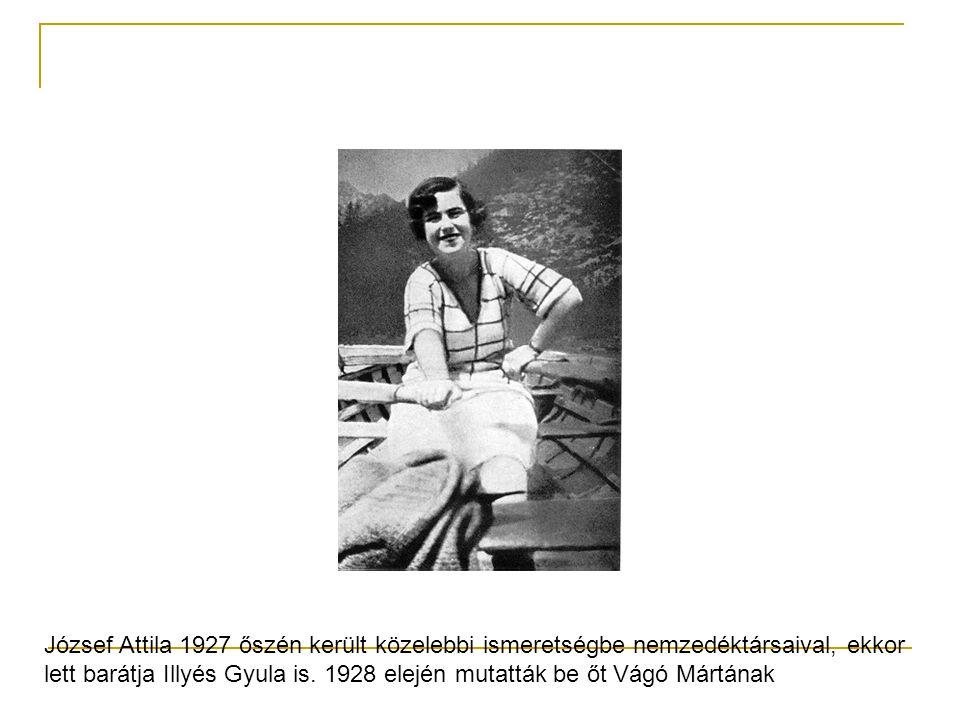 József Attila 1927 őszén került közelebbi ismeretségbe nemzedéktársaival, ekkor lett barátja Illyés Gyula is. 1928 elején mutatták be őt Vágó Mártának