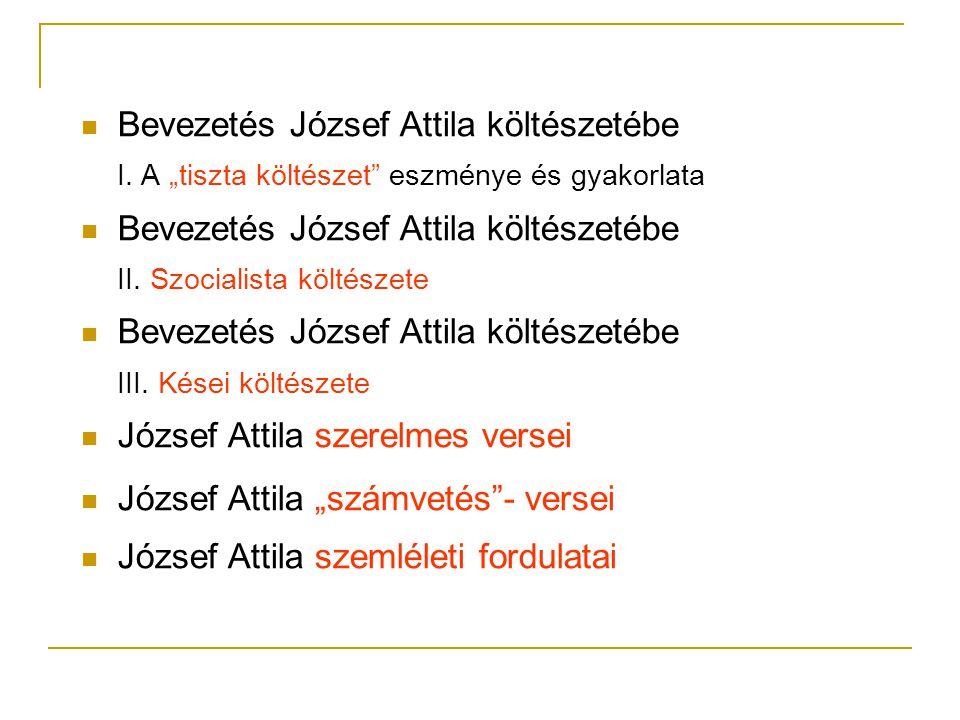 """ Bevezetés József Attila költészetébe I. A """"tiszta költészet"""" eszménye és gyakorlata  Bevezetés József Attila költészetébe II. Szocialista költészet"""