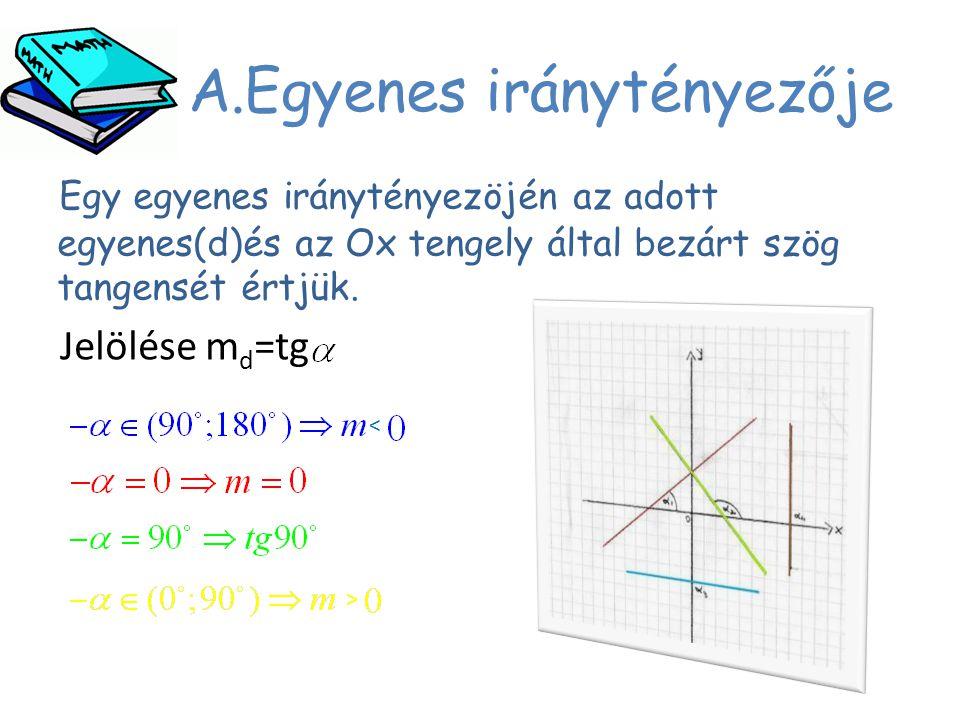 A.Egyenes iránytényezője Egy egyenes iránytényezöjén az adott egyenes(d)és az Ox tengely által bezárt szög tangensét értjük. Jelölése m d =tg > <