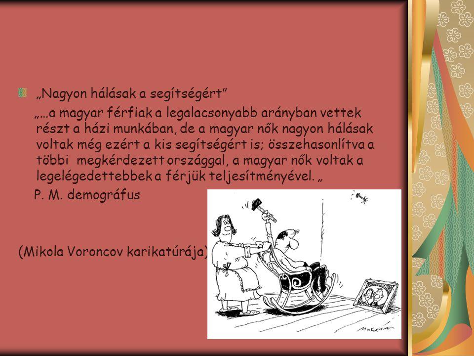"""""""Nagyon hálásak a segítségért"""" """"…a magyar férfiak a legalacsonyabb arányban vettek részt a házi munkában, de a magyar nők nagyon hálásak voltak még ez"""