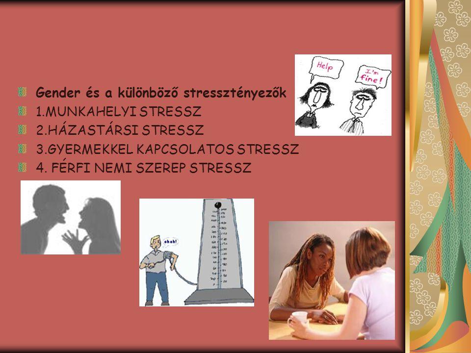 Gender és a különböző stressztényezők 1.MUNKAHELYI STRESSZ 2.HÁZASTÁRSI STRESSZ 3.GYERMEKKEL KAPCSOLATOS STRESSZ 4. FÉRFI NEMI SZEREP STRESSZ