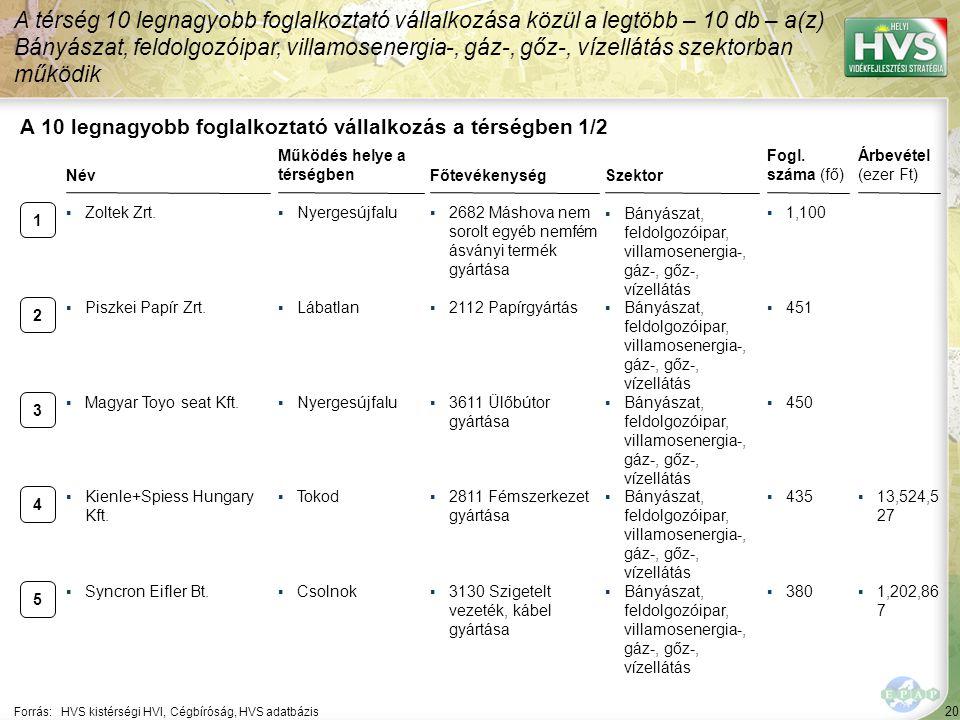 20 Forrás:HVS kistérségi HVI, Cégbíróság, HVS adatbázis A 10 legnagyobb foglalkoztató vállalkozás a térségben 1/2 A térség 10 legnagyobb foglalkoztató
