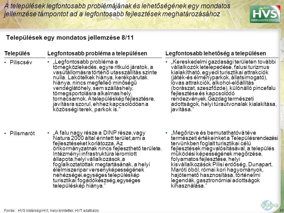 """49 Települések egy mondatos jellemzése 8/11 A települések legfontosabb problémájának és lehetőségének egy mondatos jellemzése támpontot ad a legfontosabb fejlesztések meghatározásához Forrás:HVS kistérségi HVI, helyi érintettek, HVT adatbázis TelepülésLegfontosabb probléma a településen ▪Piliscsév ▪""""Legfontosabb probléma a tömegközlekedés, egyre ritkuló járatok, a vasútállomásra történő utasszállítás szinte nulla."""