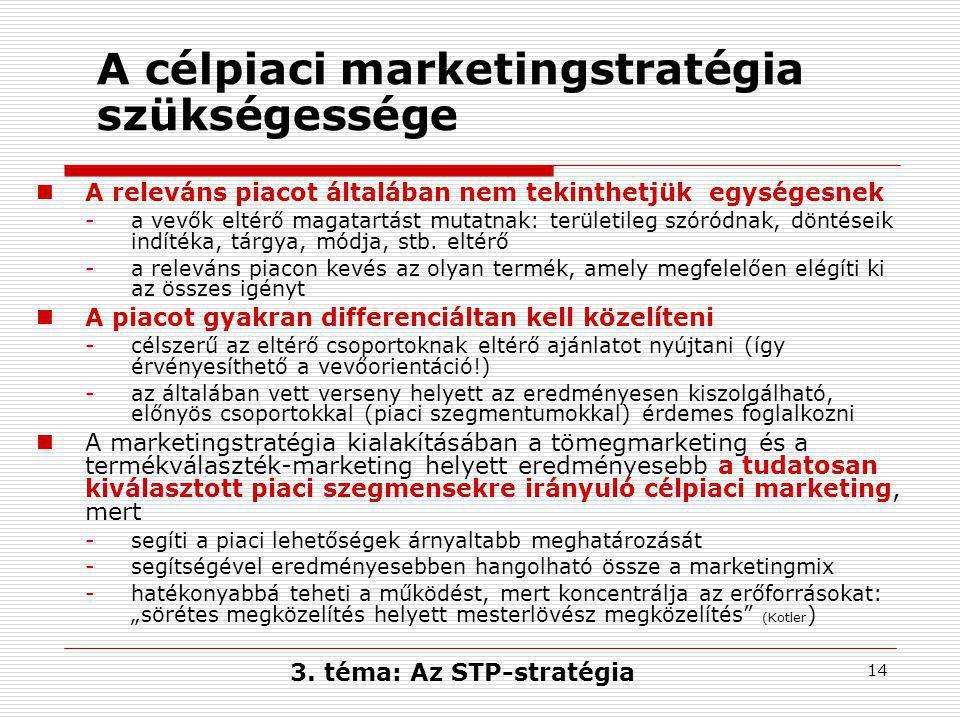14 A célpiaci marketingstratégia szükségessége  A releváns piacot általában nem tekinthetjük egységesnek -a vevők eltérő magatartást mutatnak: területileg szóródnak, döntéseik indítéka, tárgya, módja, stb.