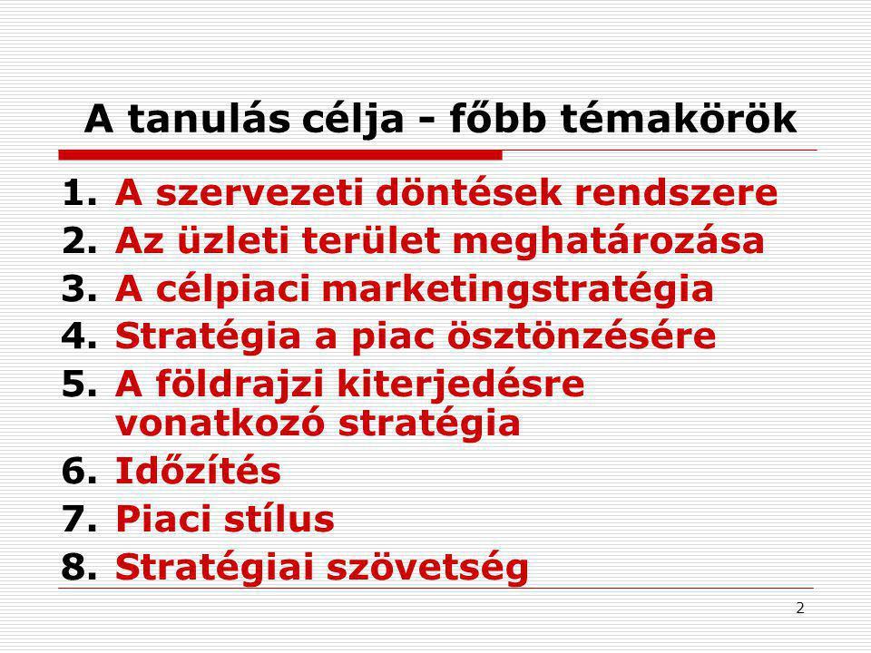 2 A tanulás célja - főbb témakörök 1.A szervezeti döntések rendszere 2.Az üzleti terület meghatározása 3.A célpiaci marketingstratégia 4.Stratégia a piac ösztönzésére 5.A földrajzi kiterjedésre vonatkozó stratégia 6.Időzítés 7.Piaci stílus 8.Stratégiai szövetség