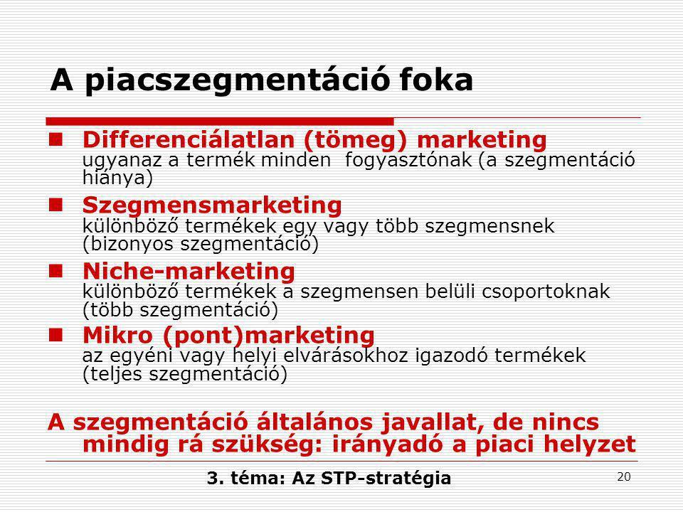 20 A piacszegmentáció foka  Differenciálatlan (tömeg) marketing ugyanaz a termék minden fogyasztónak (a szegmentáció hiánya)  Szegmensmarketing különböző termékek egy vagy több szegmensnek (bizonyos szegmentáció)  Niche-marketing különböző termékek a szegmensen belüli csoportoknak (több szegmentáció)  Mikro (pont)marketing az egyéni vagy helyi elvárásokhoz igazodó termékek (teljes szegmentáció) A szegmentáció általános javallat, de nincs mindig rá szükség: irányadó a piaci helyzet 3.