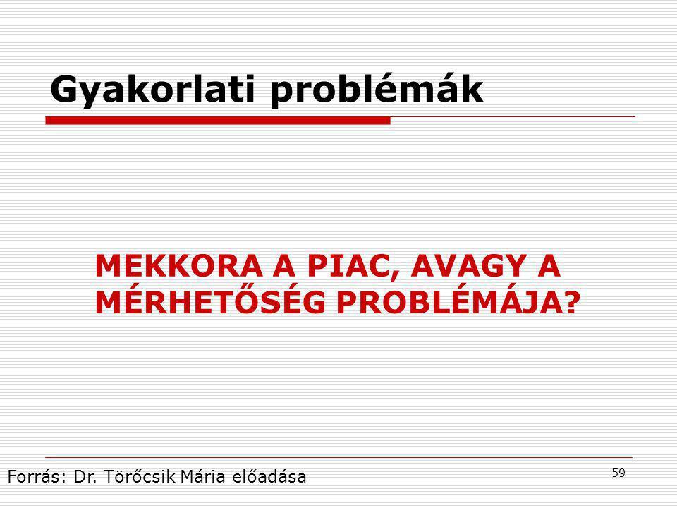 59 Gyakorlati problémák MEKKORA A PIAC, AVAGY A MÉRHETŐSÉG PROBLÉMÁJA.