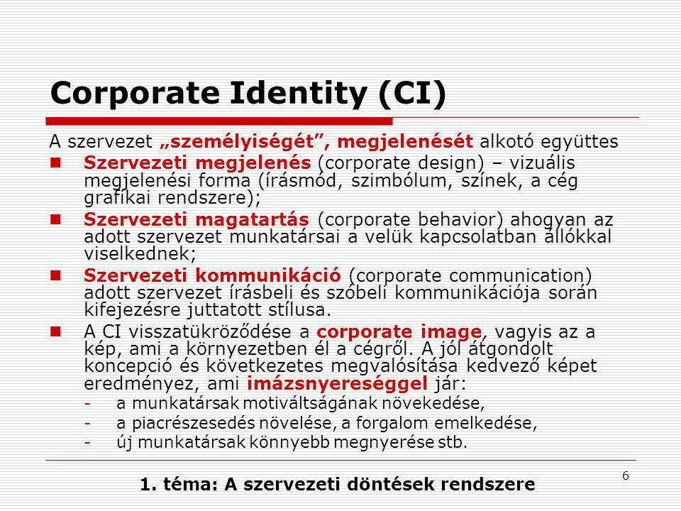 """6 Corporate Identity (CI) A szervezet """"személyiségét , megjelenését alkotó együttes  Szervezeti megjelenés (corporate design) – vizuális megjelenési forma (írásmód, szimbólum, színek, a cég grafikai rendszere);  Szervezeti magatartás (corporate behavior) ahogyan az adott szervezet munkatársai a velük kapcsolatban állókkal viselkednek;  Szervezeti kommunikáció (corporate communication) adott szervezet írásbeli és szóbeli kommunikációja során kifejezésre juttatott stílusa."""