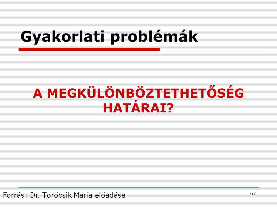 67 A MEGKÜLÖNBÖZTETHETŐSÉG HATÁRAI? Gyakorlati problémák Forrás: Dr. Törőcsik Mária előadása